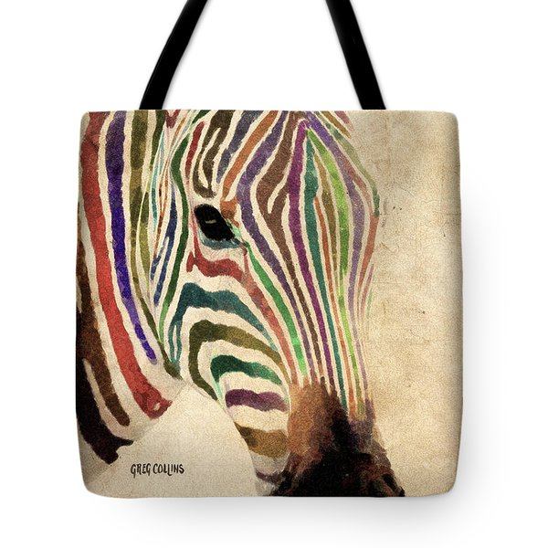 Tote Bag featuring the painting Rainbow Zebra by Greg Collins