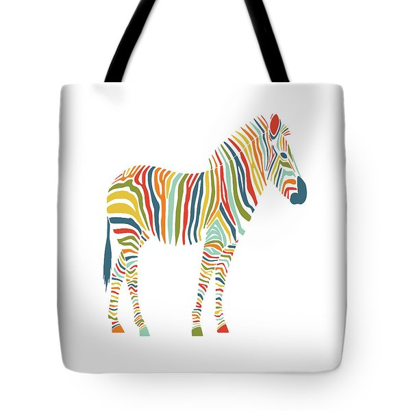 Rainbow Zebra Tote Bag by Nicole Wilson