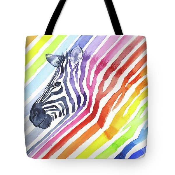 Rainbow Zebra Pattern Tote Bag by Olga Shvartsur