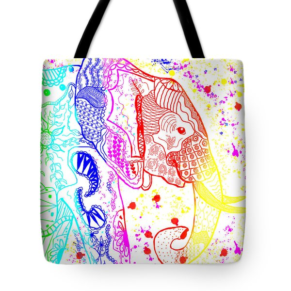 Tote Bag featuring the painting Rainbow Zentangle Elephant by Becky Herrera