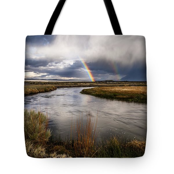 Rainbows At The Upper Owens Tote Bag by Cat Connor