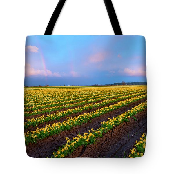 Tote Bag featuring the photograph Rainbows, Daffodils And Sunset by Mike Dawson
