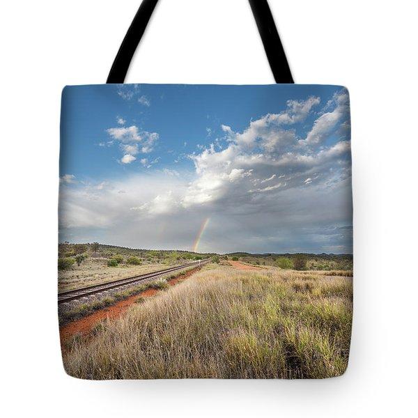 Rainbows Over Ghan Tracks Tote Bag