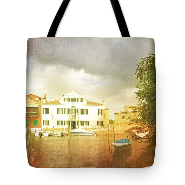 Tote Bag featuring the photograph Raincloud Over Malamocco by Anne Kotan