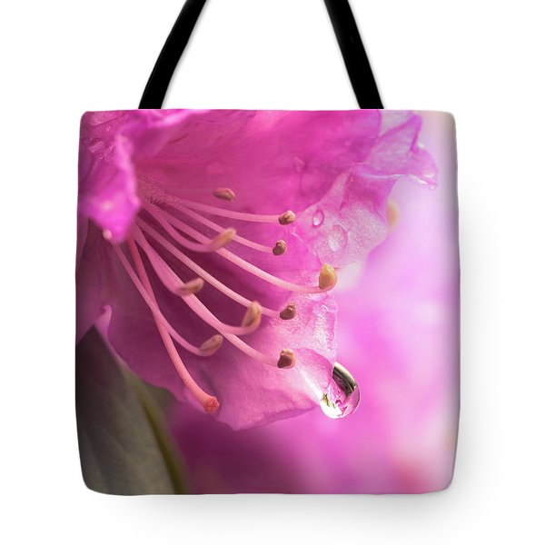 Raindrop On Rhododenron Tote Bag by Jim Hughes