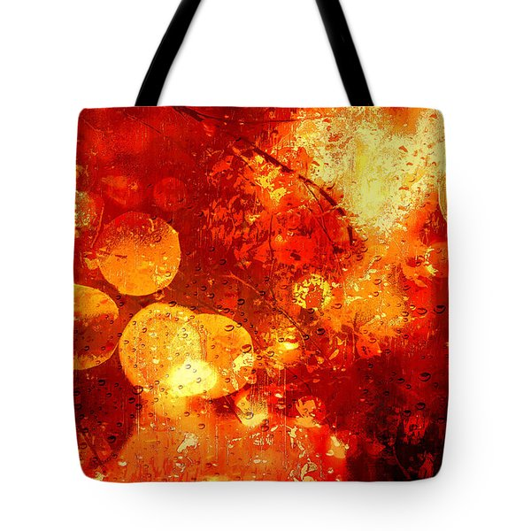 Tote Bag featuring the digital art Raindrops And Bokeh Abstract by Fine Art By Andrew David