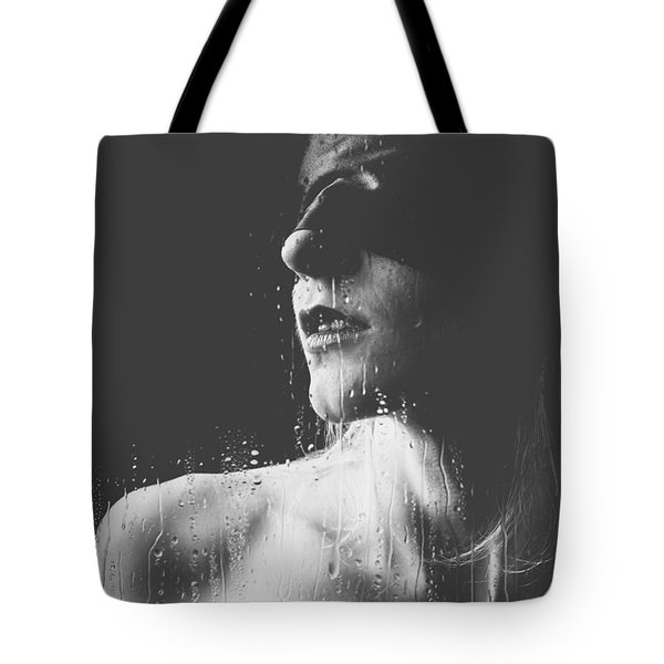 Raindrops - Blindfolded Beautiful Woman Behind A Window Tote Bag