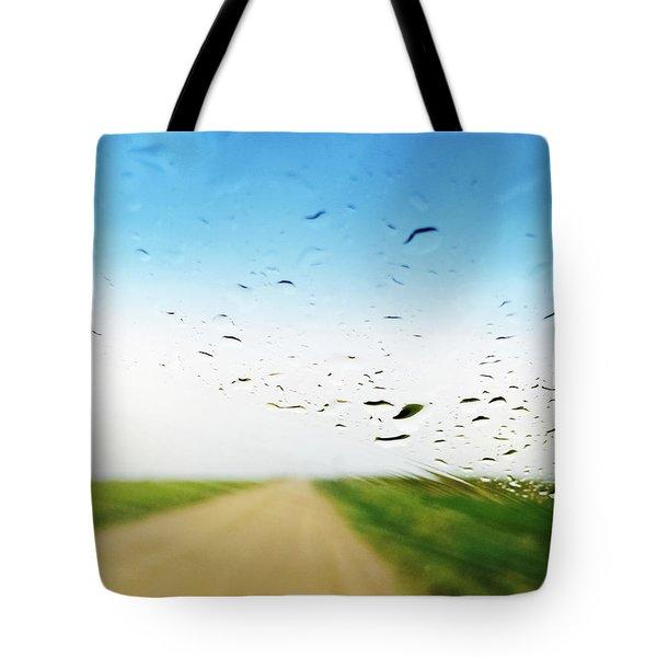 Raindrops On A Car Window Tote Bag