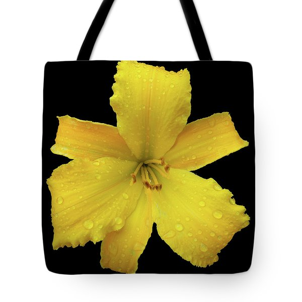 Raindrops On A Yellow Daylily Tote Bag by Tara Hutton