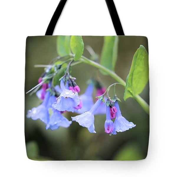 Raindrops On Blue Bells Tote Bag