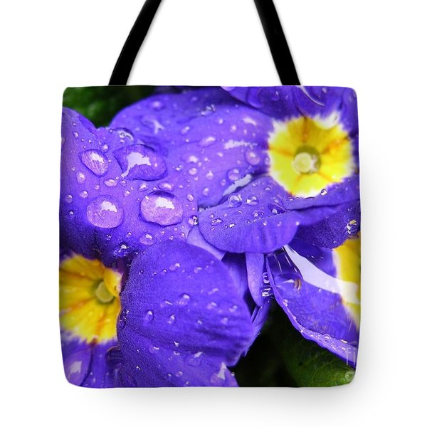 Raindrops On Blue Flowers Tote Bag by Carol Groenen