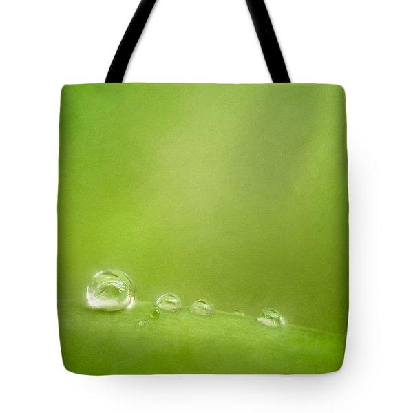 Raindrops On Green Tote Bag