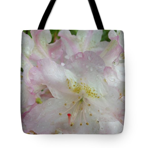 Raindrops On Rhododendron Tote Bag