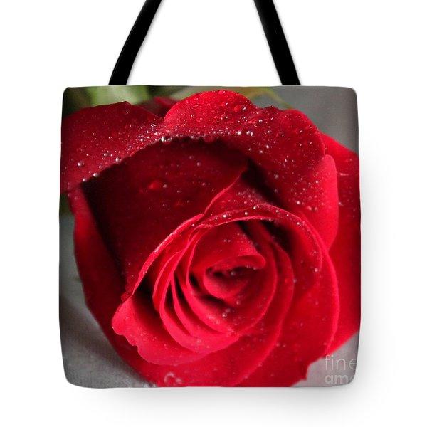 Raindrops On Roses Tote Bag by Rita Brown