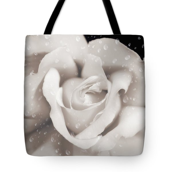 Tote Bag featuring the photograph Raindrops On Sepia Rose Flower by Jennie Marie Schell