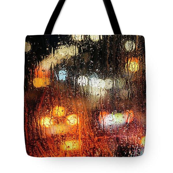 Raindrops On Street Window Tote Bag