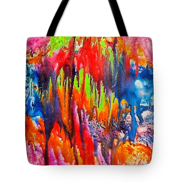Tote Bag featuring the painting Raindrops On The Window by Dragica  Micki Fortuna