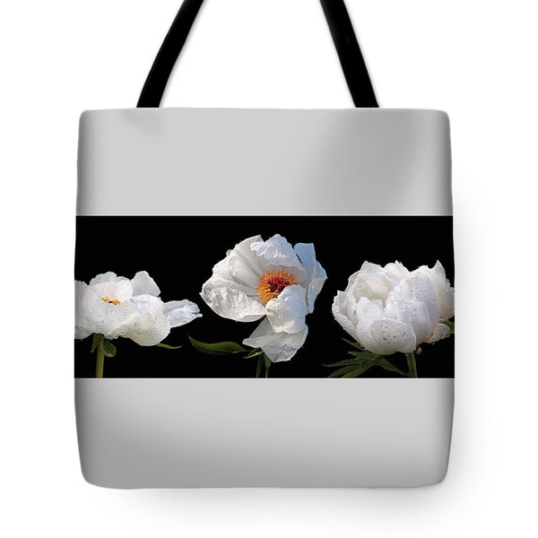 Raindrops On White Peonies Panoramic Tote Bag by Gill Billington