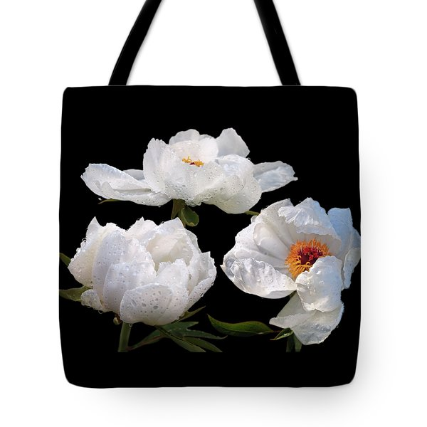 Raindrops On White Tree Peonies Tote Bag by Gill Billington