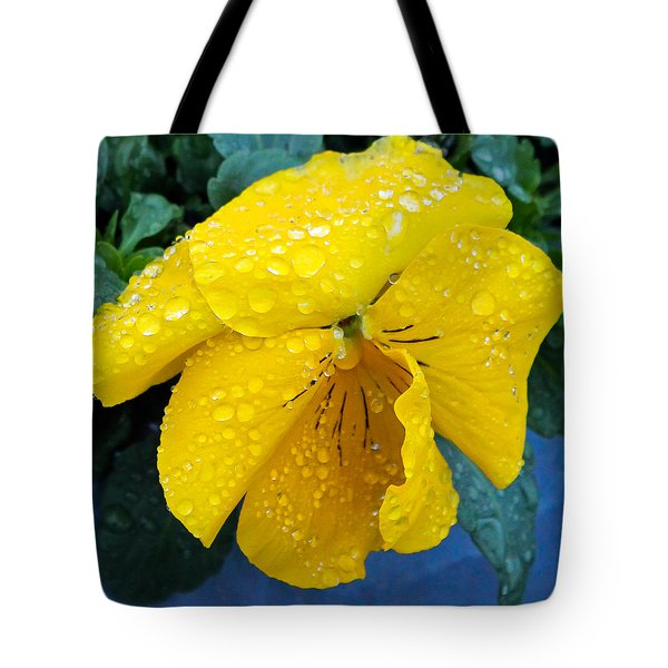 Raindrops On Yellow Pansy Tote Bag by E Faithe Lester