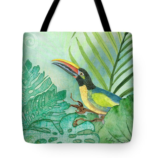 Rainforest Tropical - Jungle Toucan W Philodendron Elephant Ear And Palm Leaves 2 Tote Bag