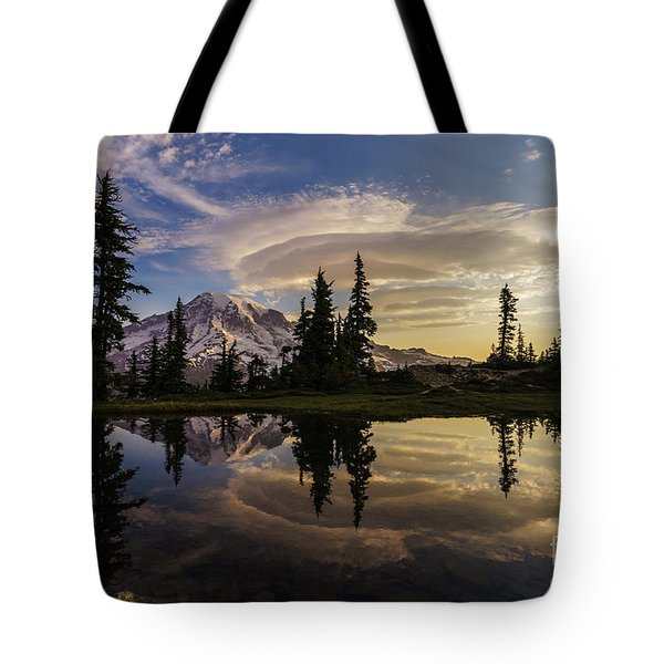 Rainier Sunrise Reflection #3 Tote Bag