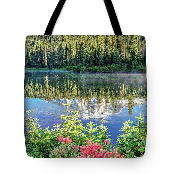 Rainier Wildflowers At Reflection Lake Tote Bag
