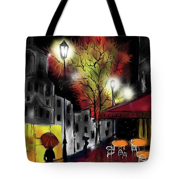 Tote Bag featuring the digital art Raining And Color by Darren Cannell