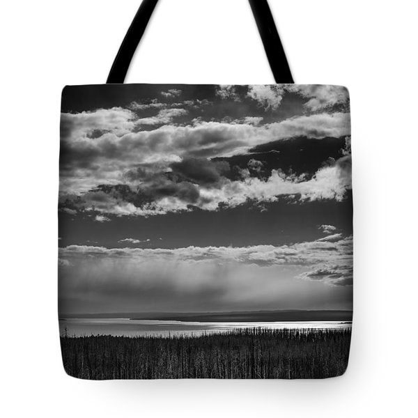 Tote Bag featuring the photograph Raining At Yellowstone Lake by Jason Moynihan