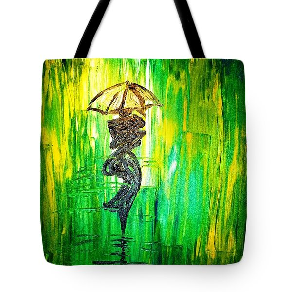 Tote Bag featuring the painting Rainning Green by Piety Dsilva