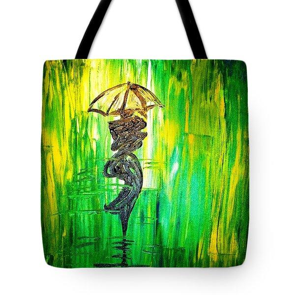 Rainning Green Tote Bag by Piety Dsilva