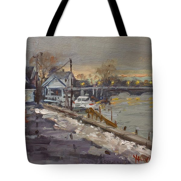 Rainy And Snowy Evening By Niagara River Tote Bag
