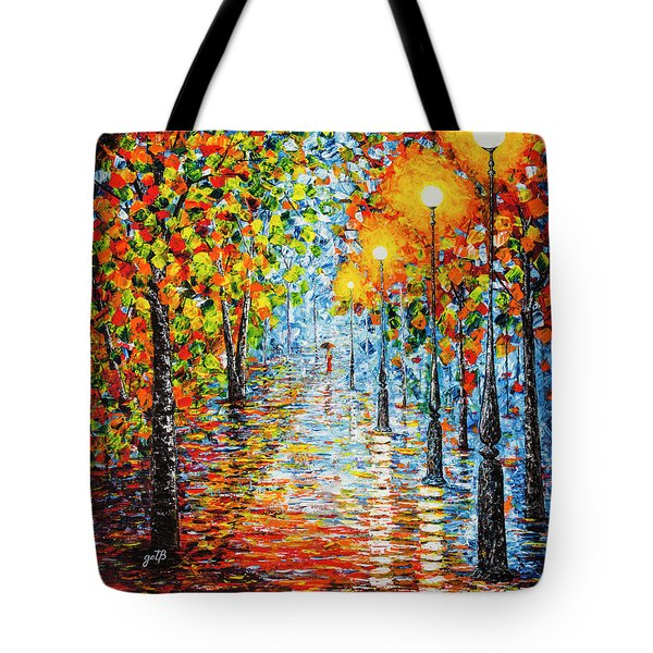 Tote Bag featuring the painting Rainy Autumn Evening In The Park Acrylic Palette Knife Painting by Georgeta Blanaru