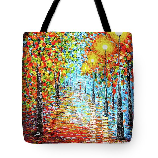 Tote Bag featuring the painting Rainy Autumn Evening In The Park Acylic Palette Knife Painting by Georgeta Blanaru
