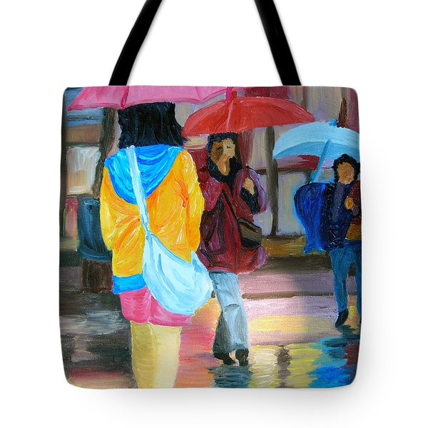 Rainy City Tote Bag by Michael Lee