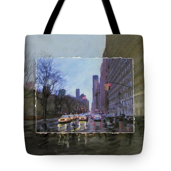 Rainy City Street Layered Tote Bag