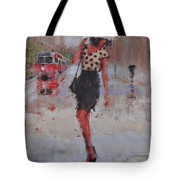 Tote Bag featuring the painting Rainy Day Blues by Laura Lee Zanghetti