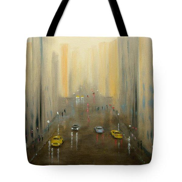 Rainy Day Cityscape Tote Bag