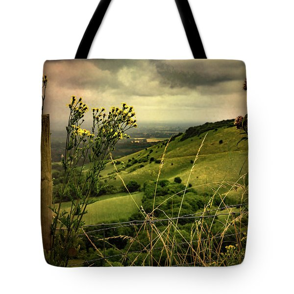 Tote Bag featuring the photograph Rainy Day Hilltop View On The South Downs by Chris Lord