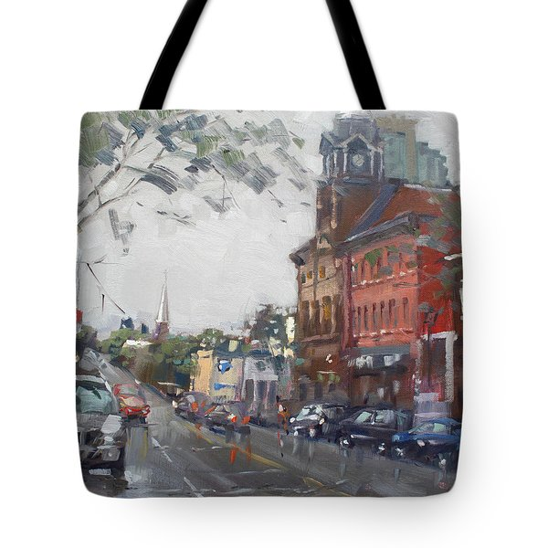 Rainy Day In Downtown Brampton On Tote Bag