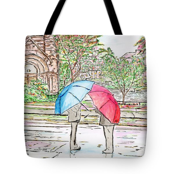 Rainy Day In Downtown Worcester, Ma Tote Bag