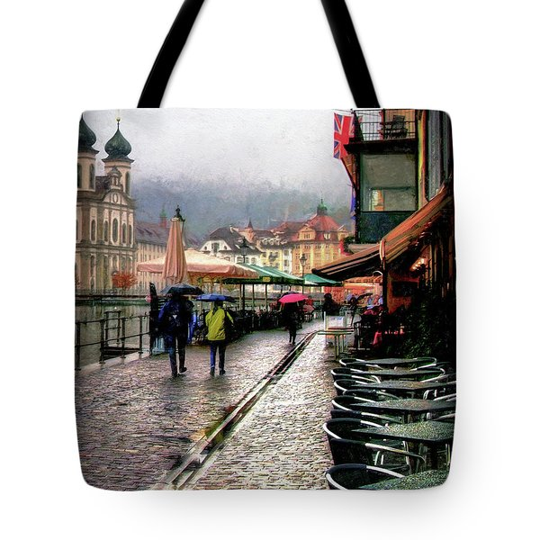 Rainy Day In Lucerne Tote Bag by Jim Hill