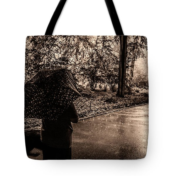 Tote Bag featuring the photograph Rainy Day - Woman And Dog by Madeline Ellis