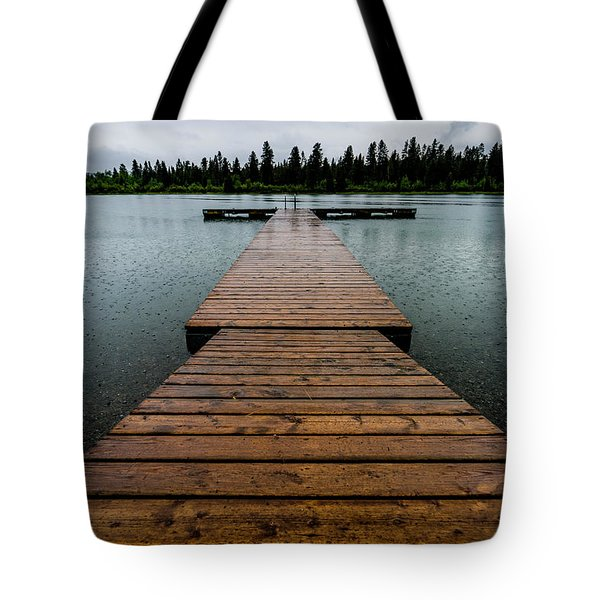 Tote Bag featuring the photograph Rainy Dock by Darcy Michaelchuk