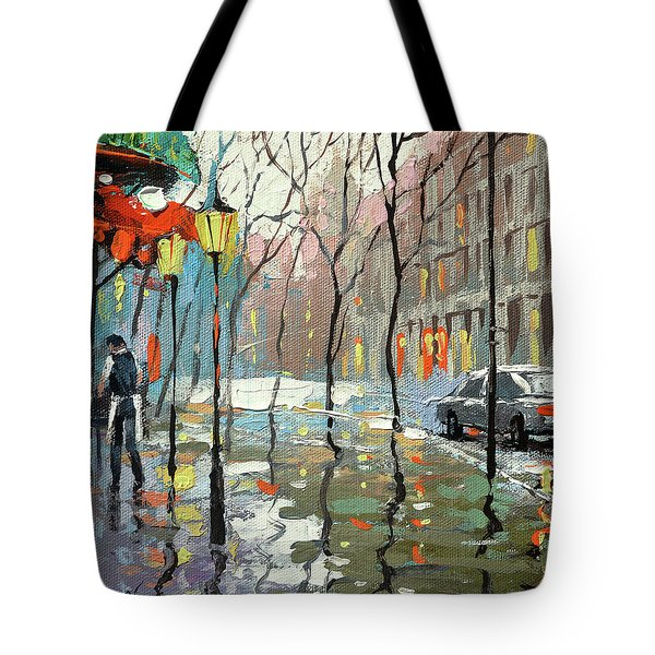 Rainy Landscape Tote Bag