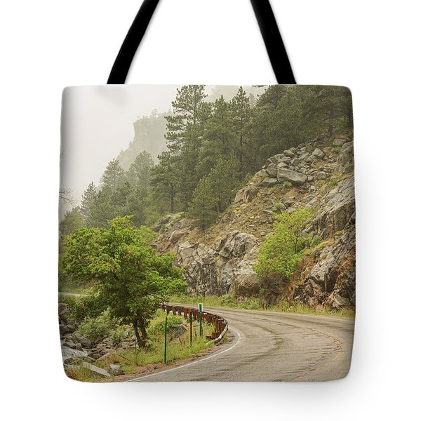 Tote Bag featuring the photograph Rainy Misty Boulder Creek And Boulder Canyon Drive by James BO Insogna