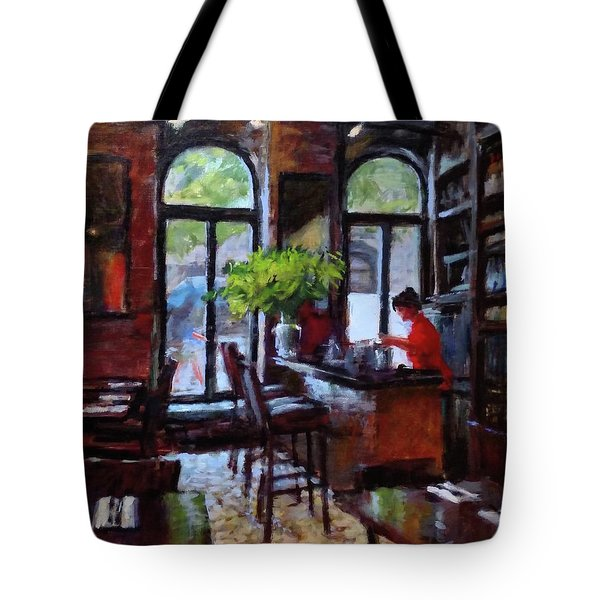 Rainy Morning In The Restaurant Tote Bag by Peter Salwen