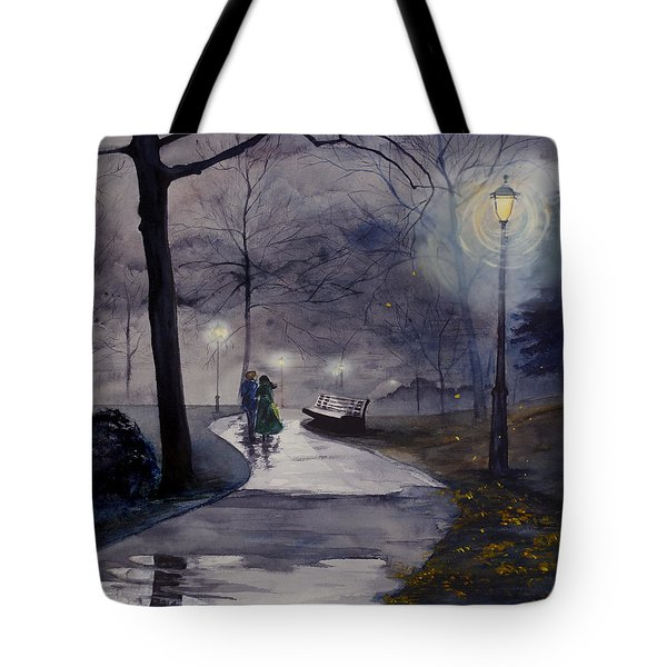 Rainy Night In Central Park Tote Bag