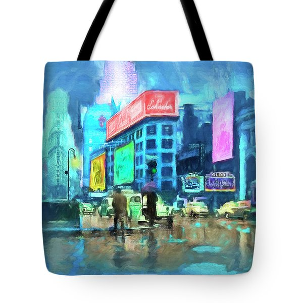 Rainy Night In New York Tote Bag by Michael Cleere