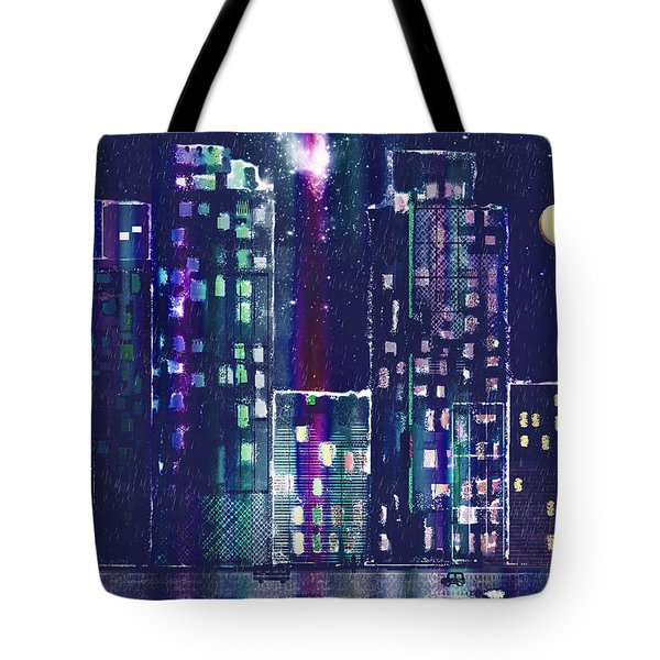 Rainy Night In The City Tote Bag by Arline Wagner